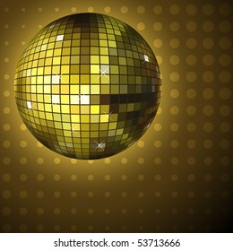 Golden disco ball background with halftone pattern. EPS10 file.