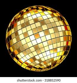 Golden Disco Ball on a black background. Vector Illustration EPS10