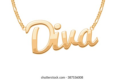 Golden DIVA word pendant on chain necklace. Jewelry design.