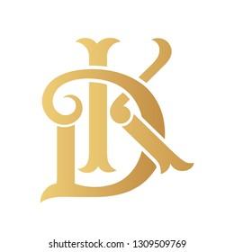 Golden DK monogram isolated in white.