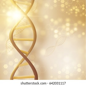 Golden DNA structure closeup vector background. Beauty skin care luxury cosmetics concept. Vector EPS10