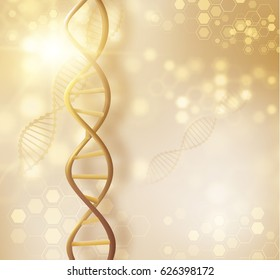 Golden DNA structure vector background. Beauty skin care luxury cosmetics concept. Vector EPS10