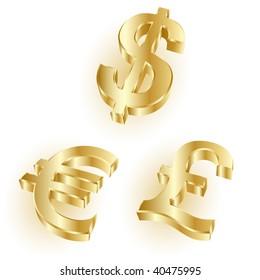 golden dollar, euro and pound symbols