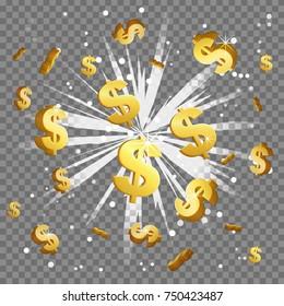 Golden dollar sign light beam lens flare explosion. Flying cash money, blindening explosion burst with sparkles. Achievement winner bonus illustration.