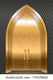 Golden door luxurious Palace in Oriental Arabic style. Vector graphics