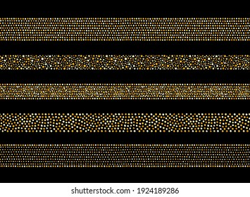 Golden dots, glittering spangles seamless borders set. Dotted wide stripes, ribbons decorations made of gold foil glittering beads, hand drawn uneven blobs, spots. Graphic design elements collection.