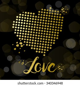Golden dots heart on the black background with a bokeh lights