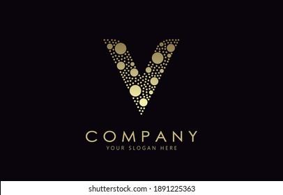 Golden Dots Letter V Logo Design. V Letter Design Vector with Golden Dots.
