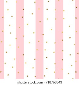 Golden dots seamless pattern on pink striped overwhelming background.