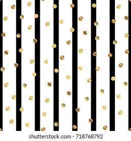 Golden dots seamless pattern on black and white striped classy background.
