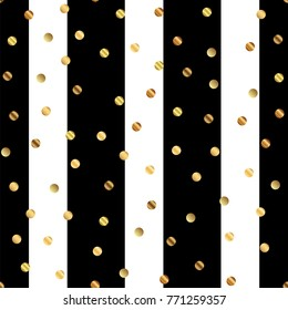 Golden dots seamless pattern on black and white striped beauteous background.
