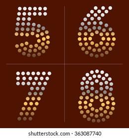 Golden dotted metal alphabet. Numbers 5, 6, 7, 8.