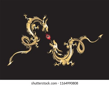 Golden dragon fighting with fire ball on black background