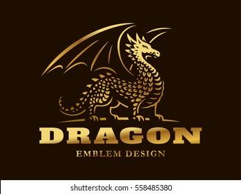 Golden dragon logo - vector illustration, emblem design on dark background.