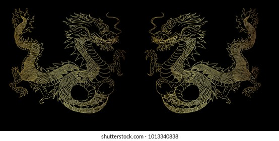 Golden Dragon on black background.Gold Chinese Dragon vector. Gold line art King Dragon tattoo.