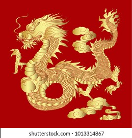 Golden Dragon on red background for Chinese New Year.Gold Chinese Dragon vector. Gold line art King Dragon tattoo.
