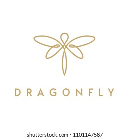 Golden Dragonfly wings, Butterfly Insect Fly Minimalist elegant line art style logo