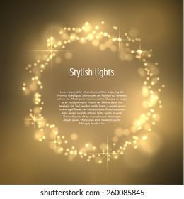 Golden dust circle frame magic background. Vector eps10.