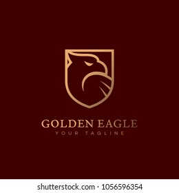 Golden eagle head logo design template. Vector illustration.