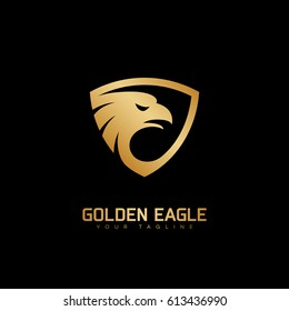 Golden eagle head logo template design. Vector illustration.
