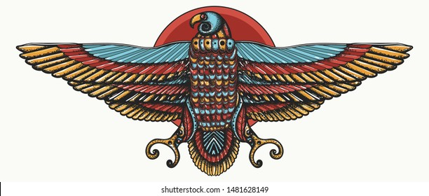 Golden eagle Horus and red sun. Egyptian god.  Color tattoo.  Ancient Egypt. Ancient civilization art, t-shirt design