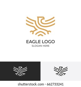 Golden eagle logo concept - vector illustration template, emblem design on a white background. EPS 10