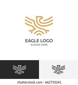 Golden eagle logo concept - vector illustration template, emblem design on a white background. EPS 10