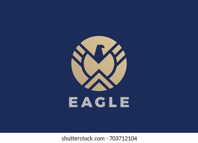 Golden Eagle Logo design vector template Circle shape Emblem. Luxury corporate heraldic Falcon Phoenix Hawk bird Logotype concept icon.