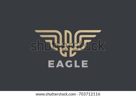 golden eagle logo design vector template のベクター画像素材
