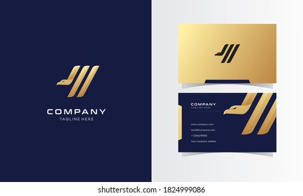 Golden Eagle Modern Minimalist Logo With Business Card