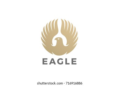 Golden Eagle rising Wings Logo design vector template Circle shape. Luxury corporate heraldic Falcon Phoenix Hawk bird Logotype concept icon.