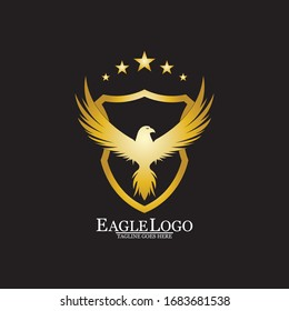 Golden Eagle with Shield logo design