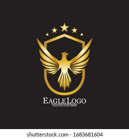 Golden Eagle with Shield logo design