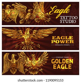Golden eagle symbolizing power and strength. Vector heraldic symbol. Tattoo studio banners heraldic antique bird of gold plumage with broad wings. Mythical griffin, mascot nobility golden signs