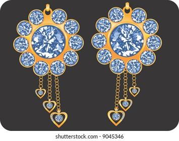 golden earring with diamond