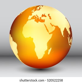 Golden earth globe with map of Africa.Vector globe icon.
