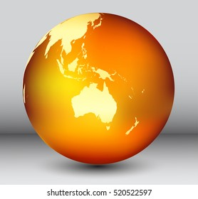 Golden earth globe with map of Australia.Vector globe icon.