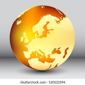Golden earth globe with map of Europe.Vector globe icon.