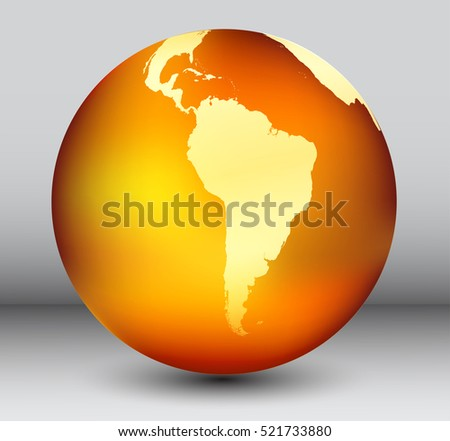 Golden Earth Globe Map South America Vector Stock Vector ... on map of antarctica globe, map of pacific ocean globe, map of world globe,