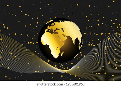 golden earth modern with wave line ornament background. vector illustration