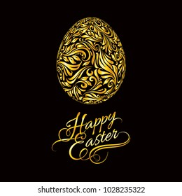 Golden Easter Egg of Swirl Flora Shapes. Original Modern Design Element. Greeting, Invitation Cute Card. Simple Decorative Illustration for Typographical Poster or Greeting card