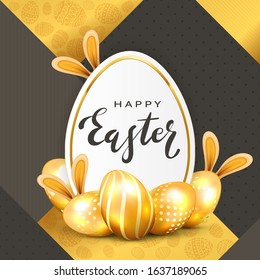Golden Easter eggs with rabbit ears and holiday card with lettering Happy Easter on gold and black background. Illustration with eggs and bunny can be used for holiday design, decorations and cards.
