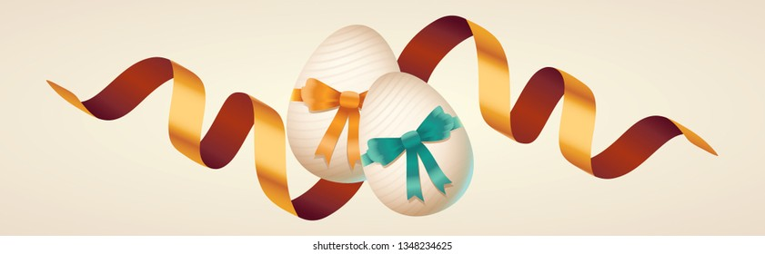 Golden easter elements, decorated eggs, colorful ribbons. Vector illustration greeting card, ad, promotion, poster, flyer, web-banner, article