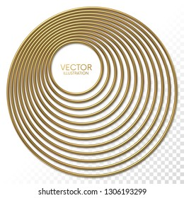 Golden eccentric circles frame with place for your content isolated on white background