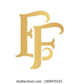 Golden EF monogram isolated in white.