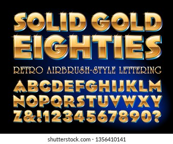 A golden effect alphabet in a retro airbrush style similar to disco album cover titles.