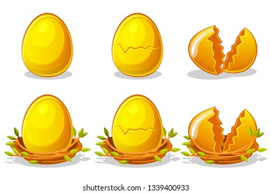 Golden Eggs in birds nest of twigs. Vector Easter symbol. Normal, damaged and broken. Objects on a separate layer.