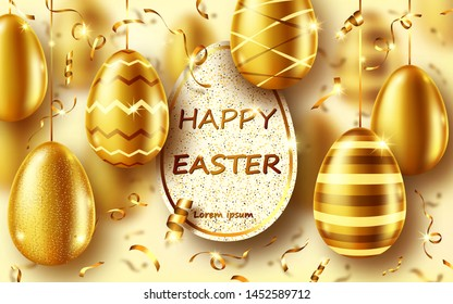 Golden eggs realistic vector illustration. Shining Easter eggs from gold metal and sparkling tinsel or confetti with inscription frame. Easter greeting card, party invitation or sale banner