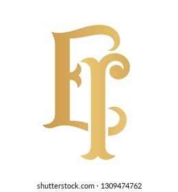 Golden EI monogram isolated in white.