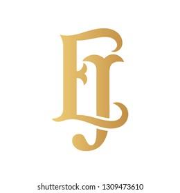Golden EJ monogram isolated in white.